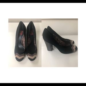 Missoni rounded toe suede chunky high heel sz 8